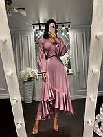 Шикарне шовкове плаття на запах з валанамі, фото 1