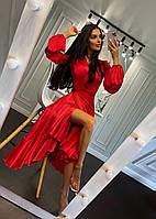 Шикарное шелковое платье на запах с валанами, фото 1