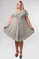 Платье разлетайка серое с вышивкой и рукавом, на 48-58 размеры
