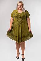 Платье разлетайка хаки с вышивкой и рукавом, на 48-58 размеры