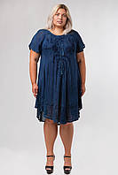 Платье разлетайка синее с вышивкой и рукавом, на 48-58 размеры