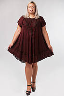 Платье разлетайка бордовое с вышивкой и рукавом, на 48-58 размеры