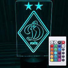 Акриловий світильник-нічник з пультом 16 кольорів ФК Динамо tty-n000162