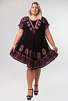 Платье разлетайка с батиком и рукавом, черное с малиной, на 48-58 размеры