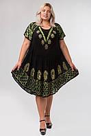 Платье разлетайка с батиком и рукавом, черное с зеленым, на 48-58 размеры