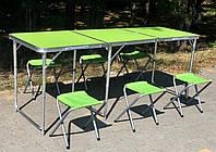 Раскладной удобный стол 60*180 см для пикника и 4 стула ( + 2 в ПОДАРОК), отверстие под зонт