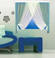 Кухонная штора № 15121512 Шифон белый+голубой
