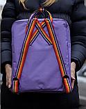 Рюкзак Kanken Fjallraven Classic 16л Фиолетовый канкен с радужными ручками школьный, портфель Purple, фото 4