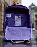 Рюкзак Kanken Fjallraven Classic 16л Фиолетовый канкен с радужными ручками школьный, портфель Purple, фото 8