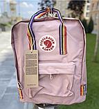 Рюкзак Kanken Fjallraven Classic 16л Рожевий ( пудра ) канкен з райдужними ручками шкільний портфель Pink, фото 2