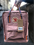 Рюкзак Kanken Fjallraven Classic 16л Рожевий ( пудра ) канкен з райдужними ручками шкільний портфель Pink, фото 3