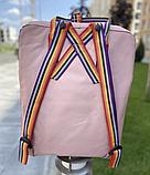 Рюкзак Kanken Fjallraven Classic 16л Рожевий ( пудра ) канкен з райдужними ручками шкільний портфель Pink, фото 5