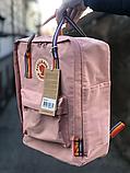 Рюкзак Kanken Fjallraven Classic 16л Рожевий ( пудра ) канкен з райдужними ручками шкільний портфель Pink, фото 9