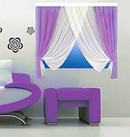 Кухонная штора № 15121512 Шифон белый+сиреневый