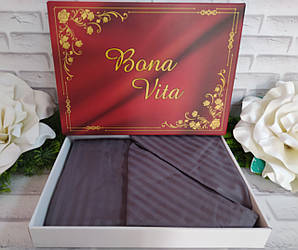 Евро комплект постельного белья страйп-сатин Bona Vita в подарочной коробке T-0291