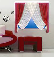 Кухонная штора № 151215125 Шифон белый+красный