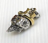 Серебряный кулон Череп в стиле стимпанк, подвеска с черепом серебро