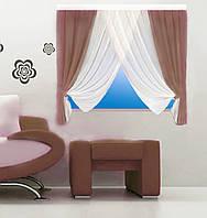 Кухонная штора № 151215126 Шифон 3 м белый+кофейный