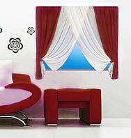 Кухонная штора № 151215127 Шифон белый+бордо