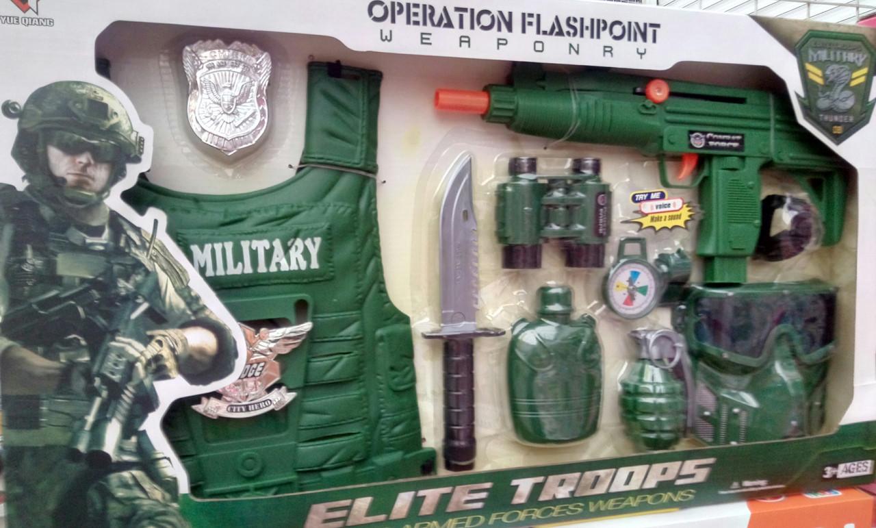 Детский военный набор для мальчика, автомат, жилет, нож, в коробке