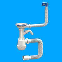 Сифон для кухонної мийки з переливом та Євро випуском SantehPlast (Україна)