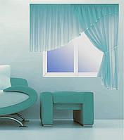 Кухонная штора № 1101152 Шифон голубой