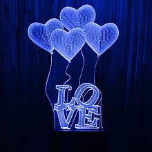 Акриловий світильник-нічник Кохання Серце синій tty-n000332