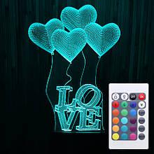Акриловий світильник-нічник з пультом 16 кольорів Кохання Серце tty-n000337