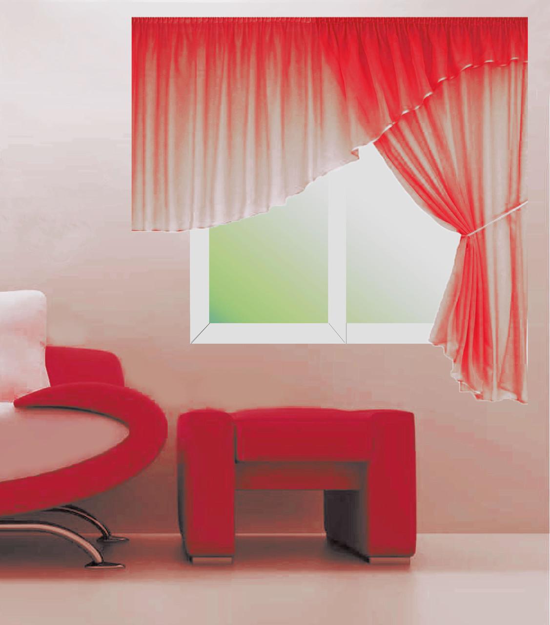 Кухонні штори № 11011524 Шифон червоний