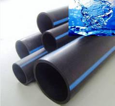 Труба полиэтиленовая 25 мм чёрная с синей полосой 6 атм Стенка 2 мм VorsklaPlast