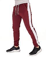 Мужские спортивные штаны с лампасами на флисе бордовые сезон осень\зима стильная одежда для парней