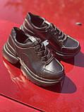 Чорні кросівки з натуральної шкіри на платформі, фото 6