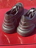 Чорні кросівки з натуральної шкіри на платформі, фото 2