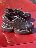 Чорні кросівки з натуральної шкіри на платформі, фото 5