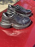 Чорні кросівки з натуральної шкіри на платформі, фото 3