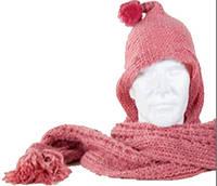 Уникальный женский теплый шарф с капишоном Traum 2483-19, розовый
