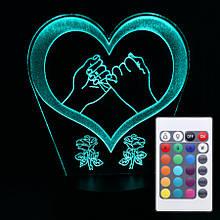 Акриловий світильник-нічник з пультом 16 кольорів Кохання Серце 3 tty-n000391