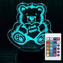 Акриловий світильник-нічник з пультом 16 кольорів ведмедик кохання tty-n000192