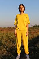 Жіночий трикотажний костюм джоггеры і футболка батал, фото 1