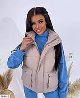 Теплая женская жилетка-безрукавка на молнии и кнопках с воротником стойкой короткая р-ры 42-46 арт. 293