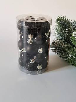 Набор новогодних елочных шаров 3 см, черный. 25 шт