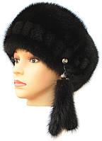 Норковая женская шапка модель Стюардесса цвет чёрный