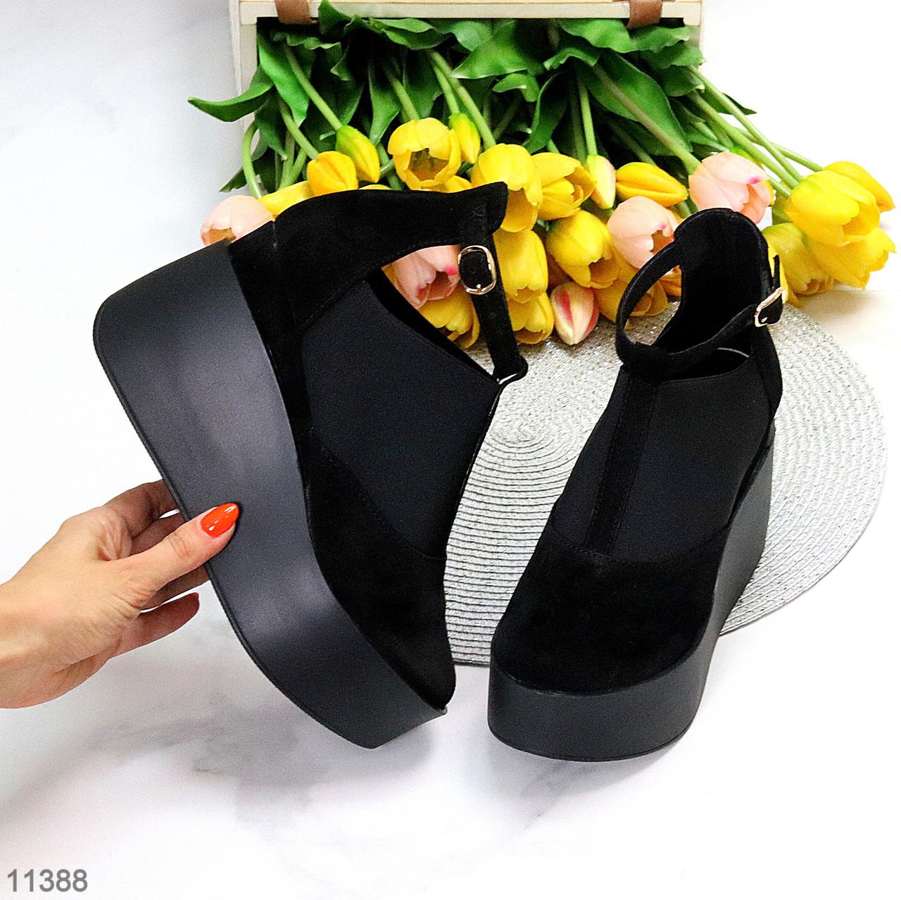 Стильные женские туфли на платформе в черном цвете натуральная замша