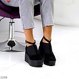 Стильные женские туфли на платформе в черном цвете натуральная замша, фото 2