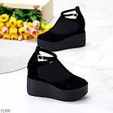 Стильные женские туфли на платформе в черном цвете натуральная замша, фото 3