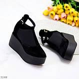 Стильные женские туфли на платформе в черном цвете натуральная замша, фото 4