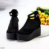 Стильные женские туфли на платформе в черном цвете натуральная замша, фото 5