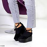 Стильные женские туфли на платформе в черном цвете натуральная замша, фото 6