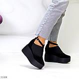 Стильные женские туфли на платформе в черном цвете натуральная замша, фото 7