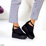 Стильные женские туфли на платформе в черном цвете натуральная замша, фото 8